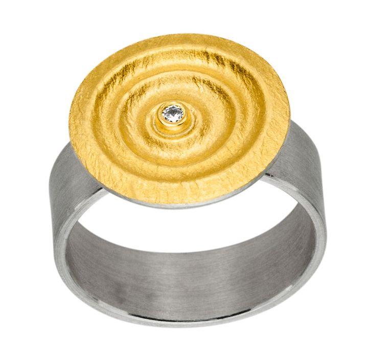 Ring Silber/Gold mit Brillant