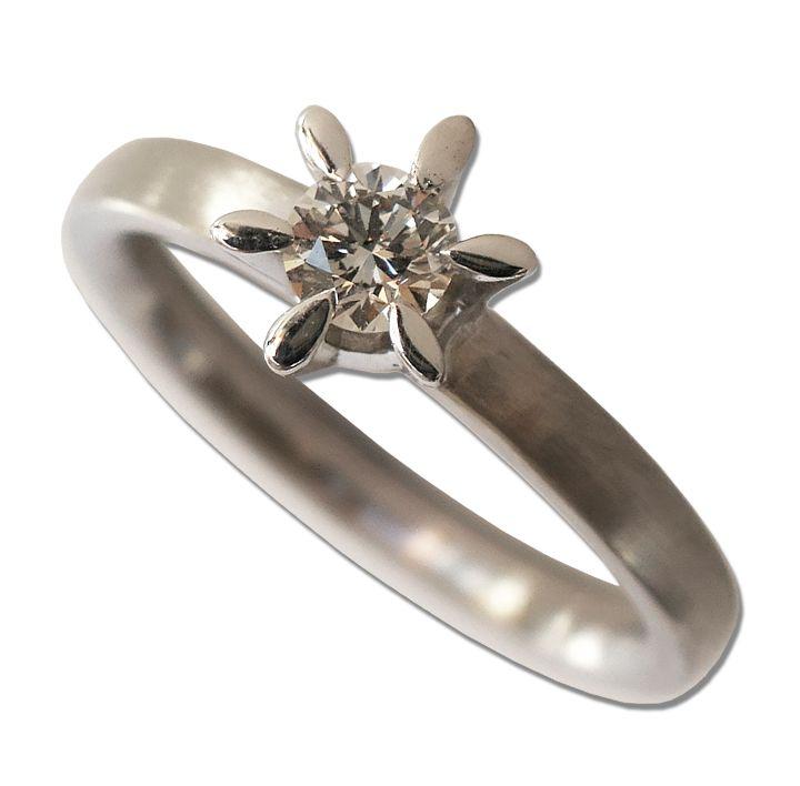 Solitär-Ring in Weißgold