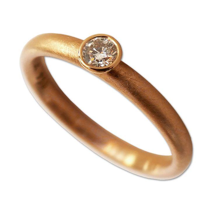 Solitär-Ring in Rotgold