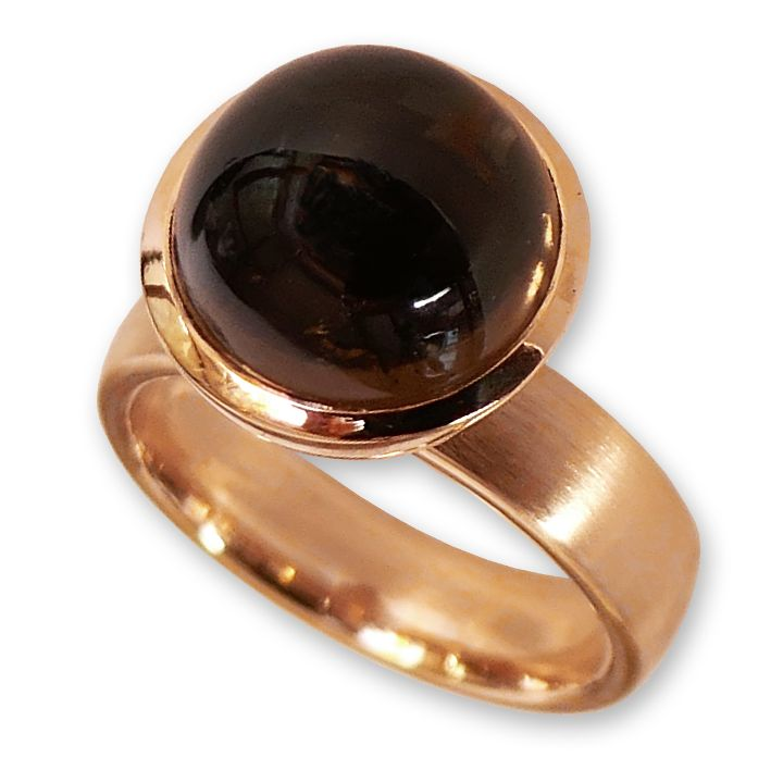 Ring in Rotgold mit Rauchquarz