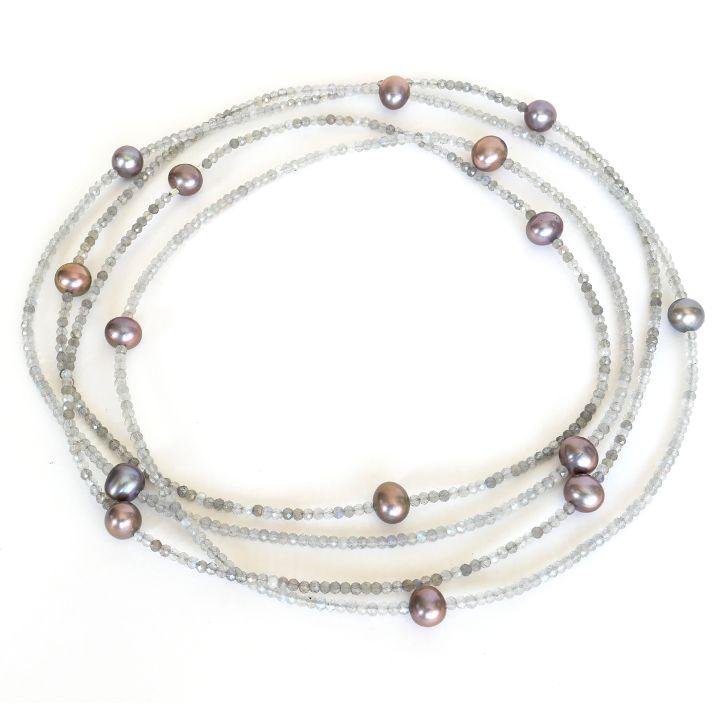 Labradoritkette mit Perlen