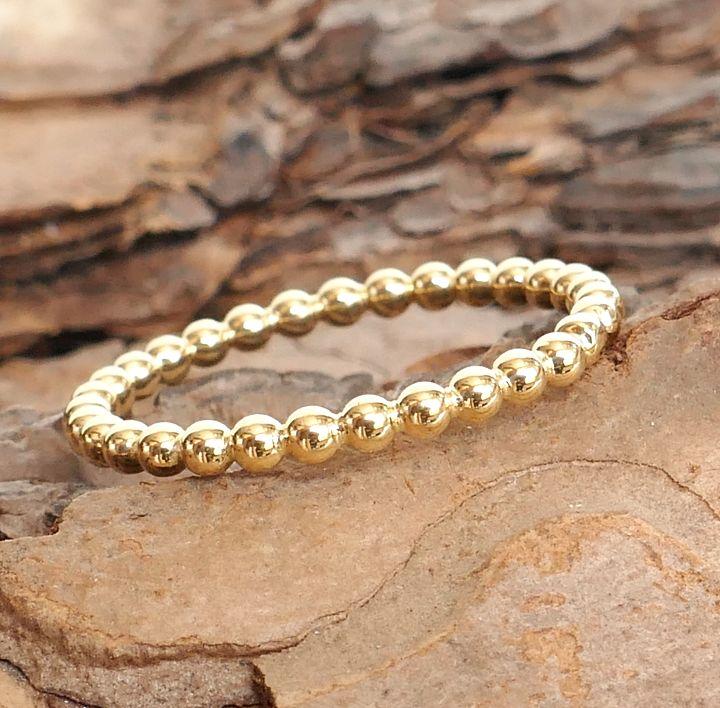 Ring aus Perldraht in Gelbgold